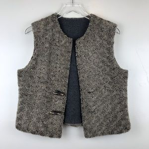 Anthro Sleeping on Snow Faux Fur Reversible Vest